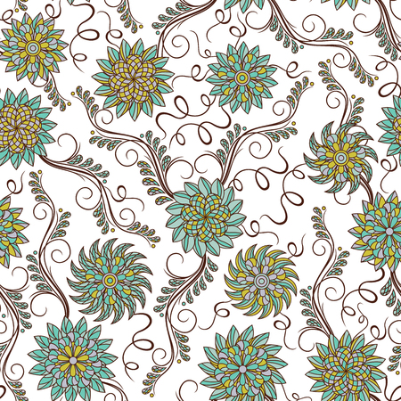 Decorative floral ornate with delicate flowers of blue and green hues on a pale yellow background, seamless vector as fabric texture