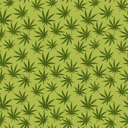 Seamless vector  pattern of cannabis leaf  on the green background as a fabric texture Illustration