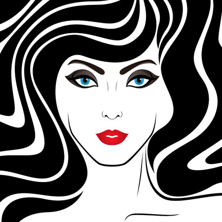 Original stylized graphic illustration of woman's face with abstract luxuriant hair and with distinctive eyes, vector for cosmetic products design Banque d'images - 104360485