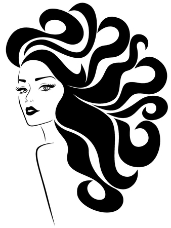 Glamorous lady with long wavy luxurious hair flowing in the wind and with distinctive eyes and lips, hand drawing vector for cosmetic products design