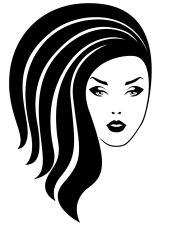 Beautiful lady with stylish luxurious hair and with distinctive eyes and lips, vector as hair care
