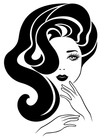 Сharming attractive lady with luxurious wavy hair and elegant well-groomed hands, hand drawing vector for cosmetic products design Illusztráció
