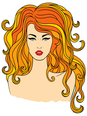 Stylish fashionable girl with luxurious wavy reddish hair, hand drawing color vector on white background