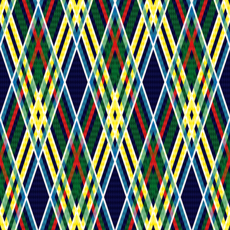 Seamless checkered pattern with interweaving of bright red, yellow, green and white lines on the dark blue background, vector as a fabric texture