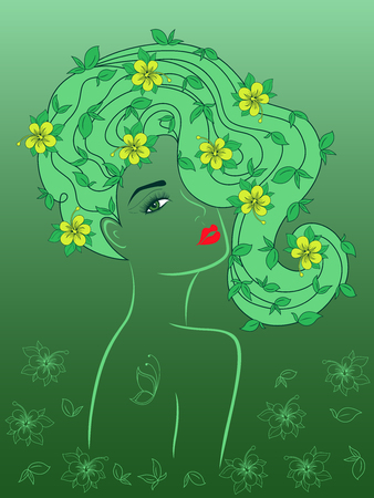 Awesome charming girl with yellow flowers in luxurious wavy hair on the delicate green background with gradient, hand drawing vector Illustration