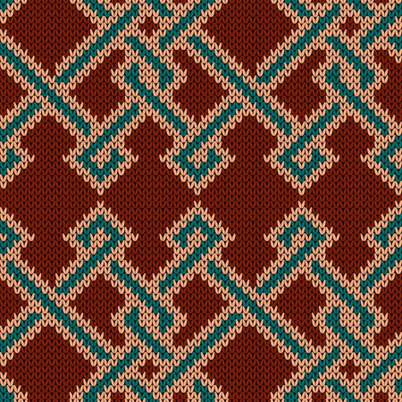 Knitted seamless ornament with interweaving of turquoise beige lines on the brick colors background, vector pattern as a fabric texture