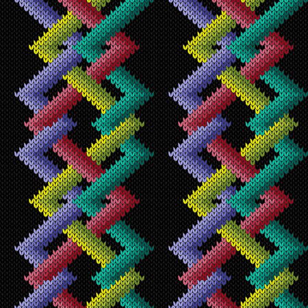 Knitted seamless ornament with interlacing multicolored lines on the black background, vector pattern as a fabric texture Stock Illustratie