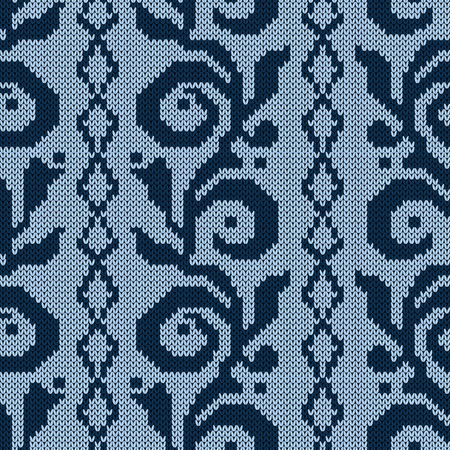 Knitted seamless with floral pattern in blue hues on the pale background, vector pattern as a fabric texture Stock Illustratie