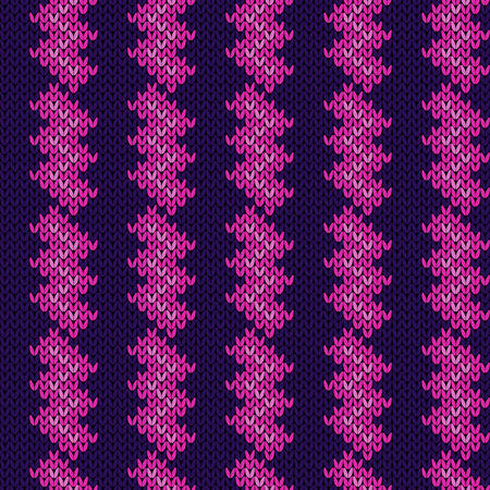 Contrast knitted seamless pattern in saturated pink and purple tones, vector pattern as a fabric texture