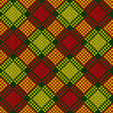 Knitted seamless diagonal pattern in yellow, green and red colors, vector as a fabric texture 矢量图像