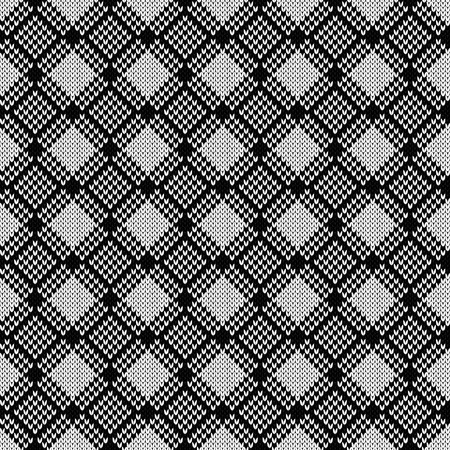 Knitted seamless pattern with diagonal lines in white and black colors, vector as a fabric texture