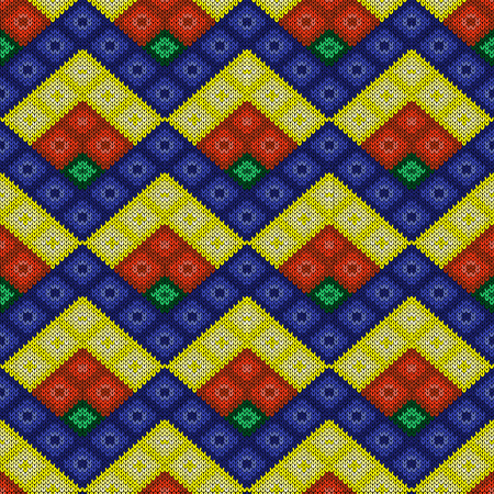 Multicolor knitted seamless pattern in blue, yellow, orange and green hues, vector as a fabric texture
