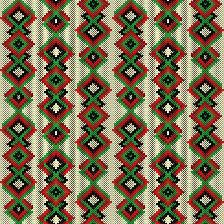 Knitted seamless saturated decorative ornament in red, green and black color on the white background, vector as a fabric texture