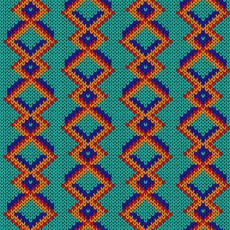 Knitted seamless pattern with bright orange, blue and red lines on the turquoise background, vector as a fabric texture