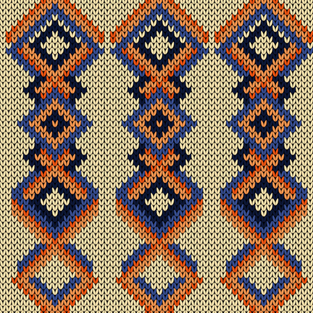 Knitted seamless pattern with variety of interlacing lines in orange and blue hues on the beige background, vector as a fabric texture Stock Illustratie