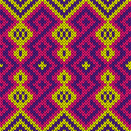 Knitted seamless decorative ornament in purple, pink and yellow color, vector as a fabric texture