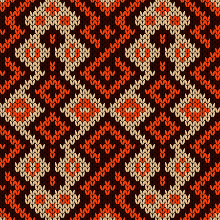 Knitted seamless decorative pattern with interlacing lines in brown and orange colors on the beige background, vector as a fabric texture Ilustração