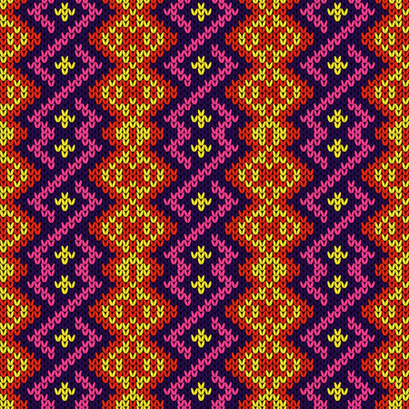 Knitted seamless colourful pattern in red, yellow, purple and pink colors, vector as a fabric texture Stock Illustratie