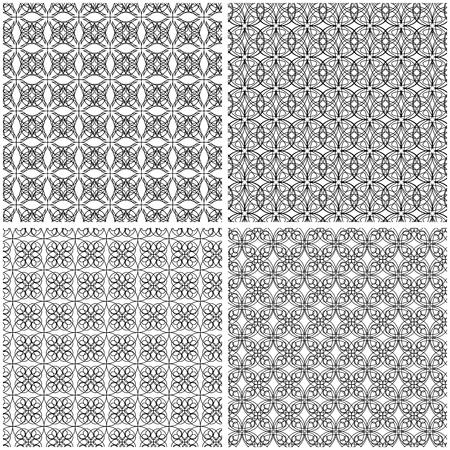 Ensemble de quatre grilles abstraites sans soudure avec des lignes noires entrelacées sur fond blanc, dessin vectoriel à la main Vecteurs