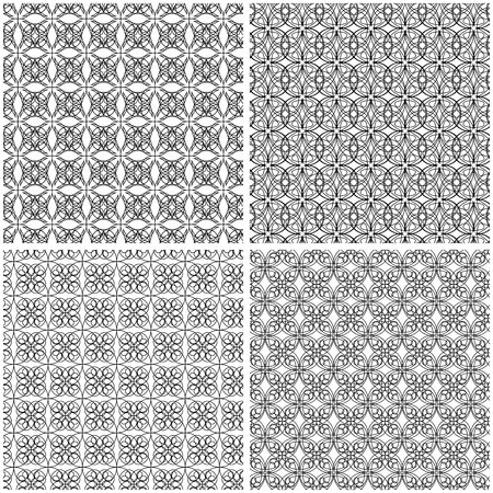 Set of four abstract seamless grids with interlacing black lines on the white background, vector hand drawing