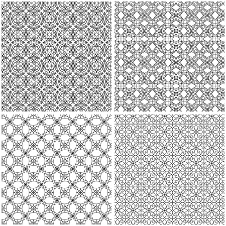 Four abstract seamless grids with interlacing black lines on the white background, vector hand drawing