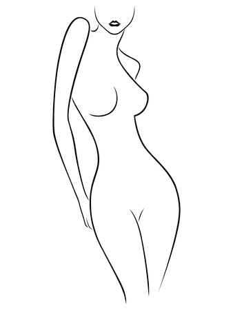 Black contour of slender body of soft woman on the white background, hand drawing vector illustration Çizim