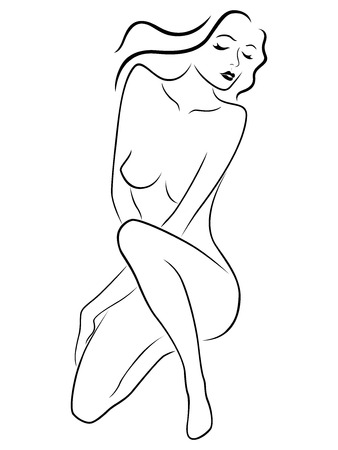 Black contour of soft and tender woman who sat down and leans head to the side on the white background, hand drawing vector illustration