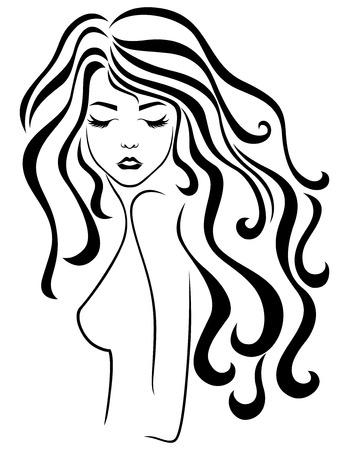 Resumen joven hermosa mujer con cabello ondulado de lujo largo y ojos cerrados, dibujo a mano alzada, contorno vectorial Ilustración de vector