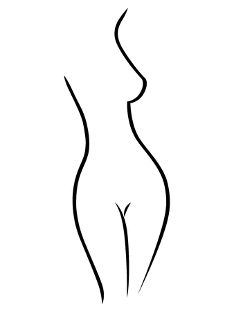 Abstract black female body contour on the white background, hand drawing vector artwork
