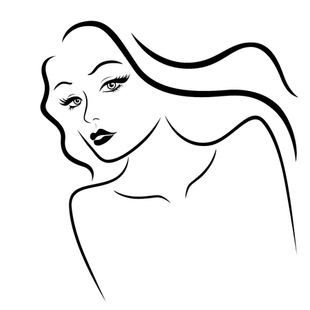 Elegant and charming lady with beautiful hair and sensual face, hand drawing black vector on the white background