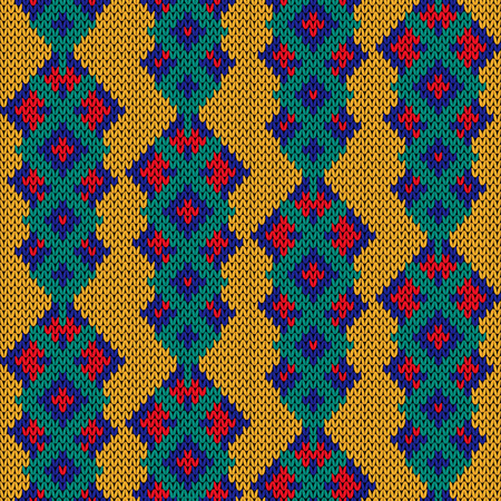 Multicolored knitted ornamental seamless pattern in blue, red, turquoise and orange colors, vector as a fabric texture