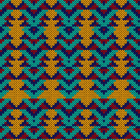 Knitted seamless decorative ornament in turquoise, red, orange and blue color, vector as a fabric texture