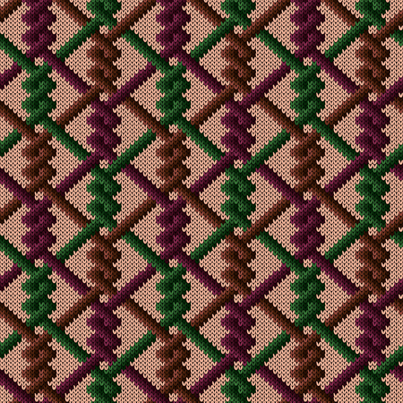 Knitted seamless ornate pattern with interlacing lines in red, brown and green hues on the beige background, vector as a fabric texture Stock Illustratie