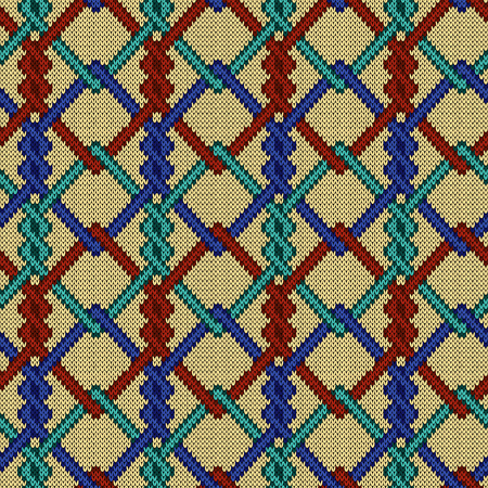 Knitted seamless ornate pattern with interlacing lines in turquoise, blue and red hues on the pale yellow background, vector as a fabric texture Stock Illustratie