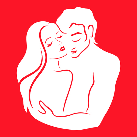 Gentle hugs of man and woman   of passionate love, white hand drawing vector on the red background 일러스트