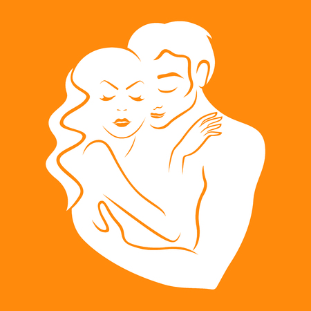White  vector that symbolizes gentle and reliable love on the orange background, hand drawing illustration