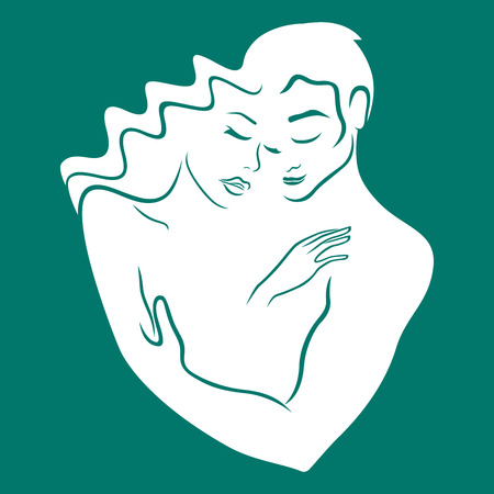 Gentle hugs of man and woman of strong and reliable love, white hand drawing vector on the turquoise background