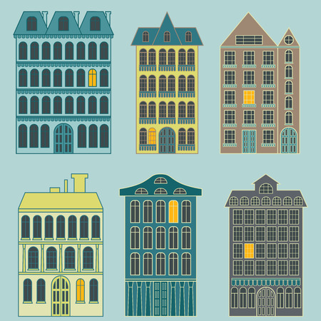 Set of colorful city buildings of different construction with one bright window, isolated vector on the pale blue background Ilustração