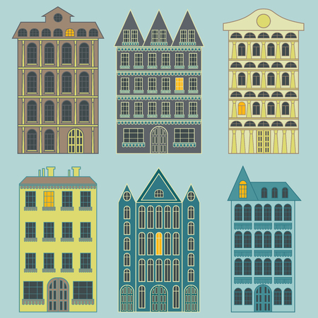 Set of colorful city apartment buildings with different architecture with one luminous window, isolated vector on the pale blue background