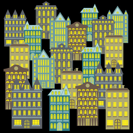 Night city landscape with multistory buildings of different architecture, hand drawing vector on the black background, flat style illustration