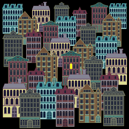 Night city landscape with apartment buildings of different architecture and one luminous window, hand drawing vector on the black background, flat style illustration