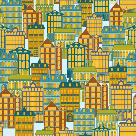 Seamless vector pattern with apartment buildings of different architecture, hand drawing vector on the pale blue background, flat style illustration