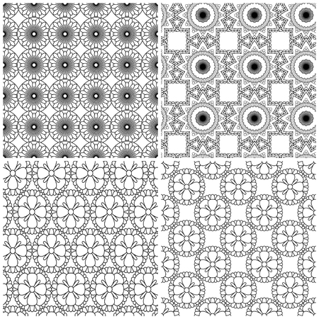 Four abstract seamless mesh patterns with flower shapes on the white background, vector hand drawing