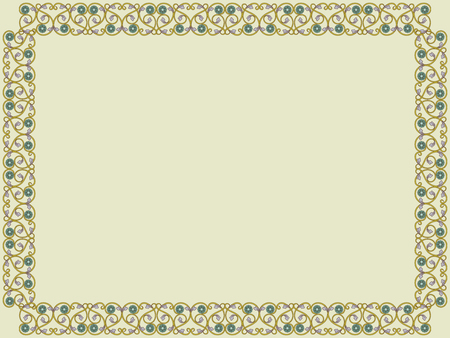 Decorative Victorian style frame with interlaced lines in pale hues on the mute khaki background, vector as an element of design