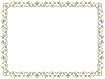 Victorian delicate floral frame with interwoven lines and flowers in pale hues on the white background, vector as an element of design Illusztráció