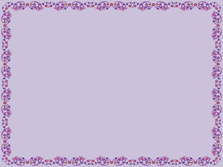 Decorative floral frame with contrast flowers and leaves of Victorian style in purple hues on the mute violet background, vector as an element of design Illustration