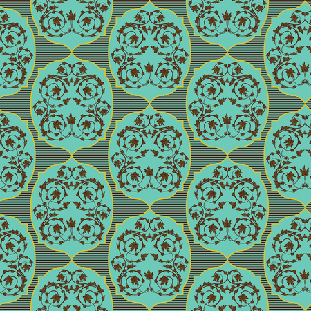 Seamless vector antique floral pattern of Victorian style in turquoise, khaki and brown hues as a fabric texture