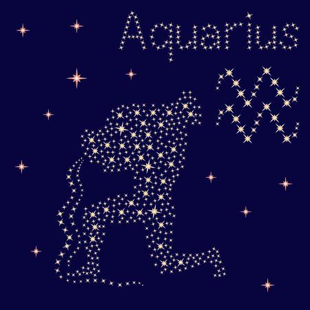 Signo del zodíaco Acuario sobre un fondo de cielo estrellado, ilustración vectorial
