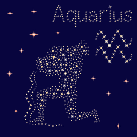 Zodiac sign Aquarius on a background of the starry sky, vector illustration