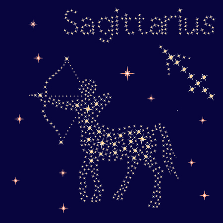 Zodiac sign Sagittarius on a background of the starry sky, vector illustration
